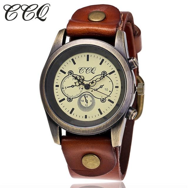 CCQ Brand Fashion Vintage Cow Leather Bracelet Watch Casual Women WristWatch Lux