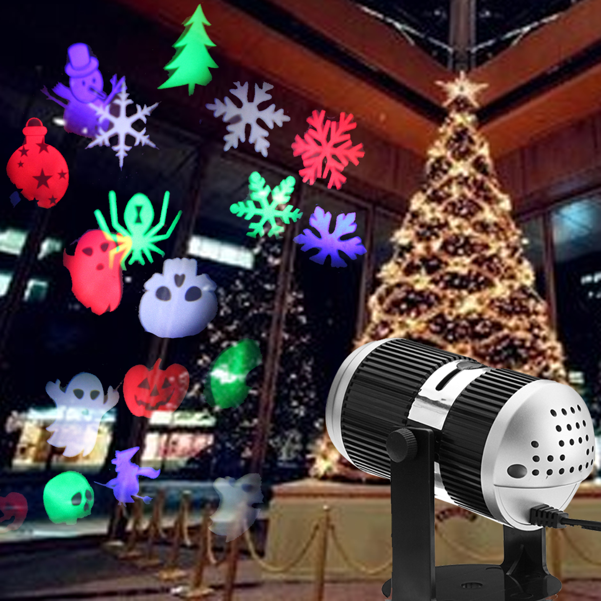 4W RGB LED Projector Stage Light for Garden Wall Halloween Christmas Party Decor with 4 Gobo Cards EU US Plug цены