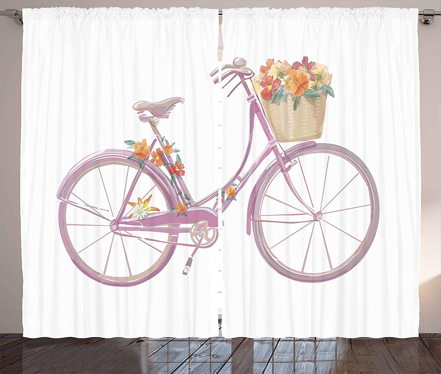 Bicycle Curtains Watercolor Illustration Of A Pink Bicycle With Flowers Romantic Vintage Artistic Living Room Bedroom Window