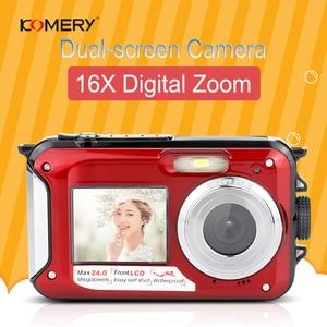 Image 2 - KOMERY WP01 المزدوج الشاشة الرقمية كاميرا مقاومة للماء 2.7K 4800 واط بكسل 16X التكبير الرقمي HD الموقت الذاتي شحن مجاني 3 سنة الضمان