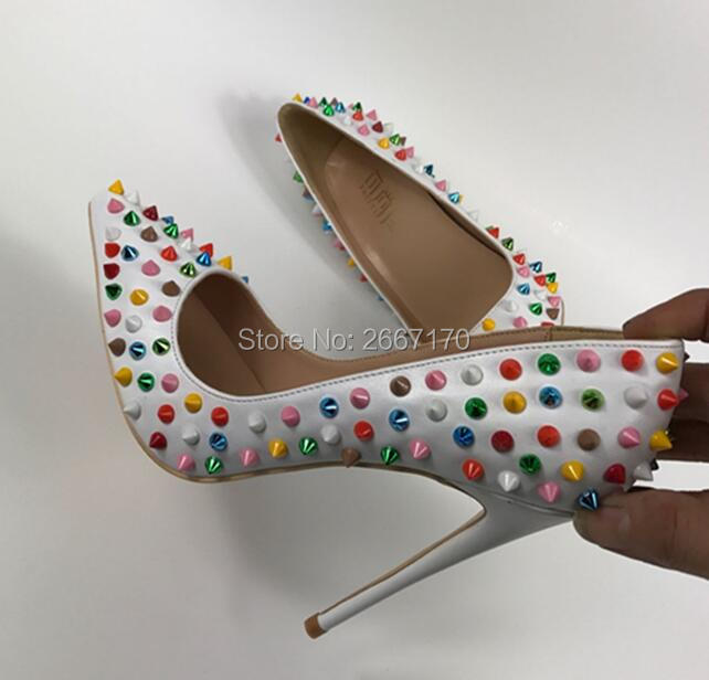As Iris Tacones Coloridos Tachonado Arco as Zapatos Moda Vestido Espigas Punta Señora Pics Partido Estrecha Pics Remaches Stilettos Embellecido qZAtxwY