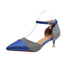 New pointed womens high heels for spring 2019 with buckle strap in a stylish monochrome patchwork stiletto sandals