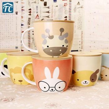 Taza de café bonita de gran capacidad de 780ML Taza de cerámica de dibujos animados tazas de viaje tapa de bambú resistente al calor Drinkware viaje personalidad hogar