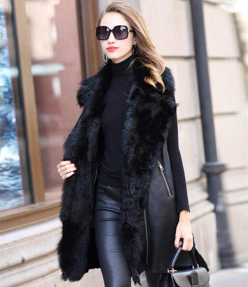 AYUNSUE длинный овчина жилет из натуральной кожи куртка с натуральным мехом пальто Женская подкладка из натуральной овечьей шерсти куртки зимние теплые пальто женские ZQY7081