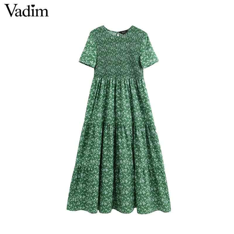 Vadim women retro floral print patchwork maxi dress elastic O neck short sleeve back cut out design fashion long dresses QB850