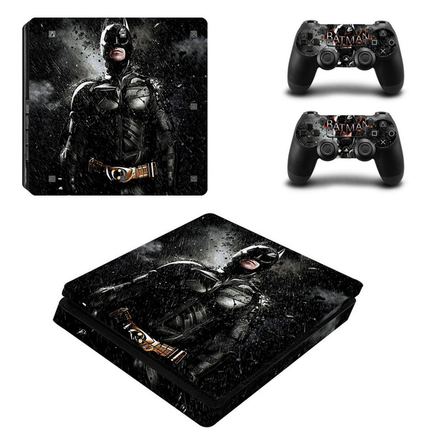 Black Batman Skin Sticker Cover Protector Vinyl Sticker For PS4 Slim Console Kinect and 2 Controller Skin