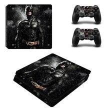 Pegatina de piel negra de Batman, pegatina de vinilo protectora para PS4, consola delgada, Kinect y 2 controladores