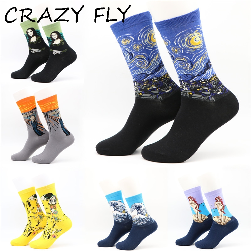 CRAZY FLY Fashion Retro Abstract Oil Painting Van Gogh Art   Socks   Harajuku Novelty Design Mona Lisa Cotton Long Funny   Socks   Meias