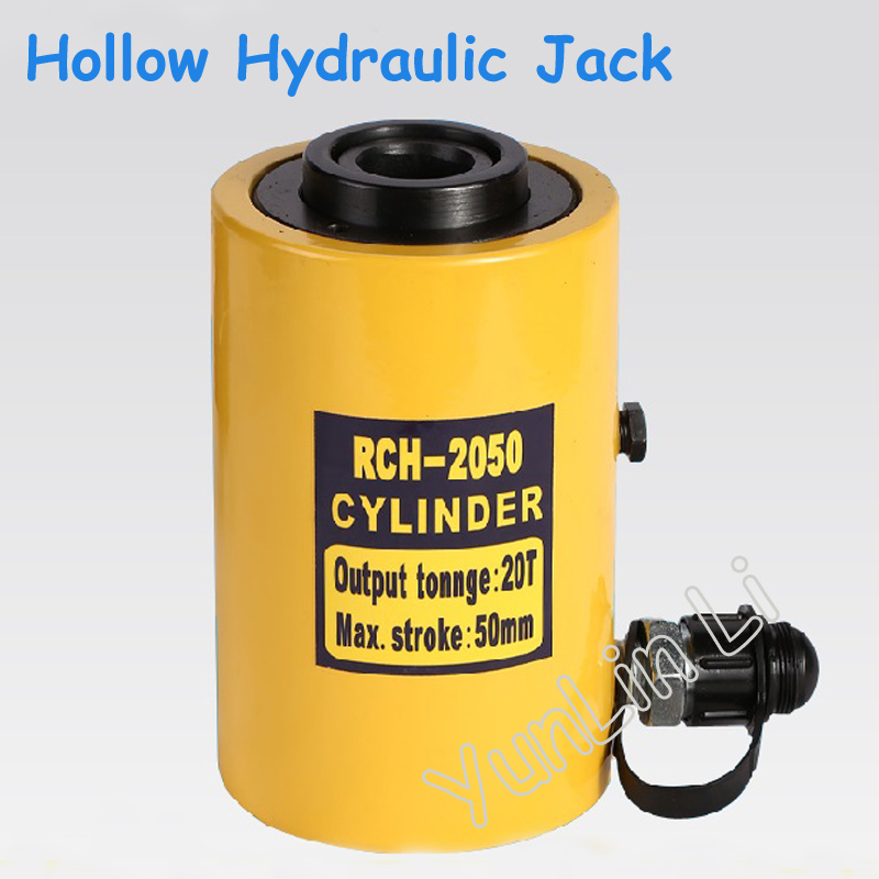 Hollow Hydraulic Jack Max. Stroke 50mm Cylinder Multi-use Manual Oil Pressure Hydraulic Lifting and Maintenance Tools 20THollow Hydraulic Jack Max. Stroke 50mm Cylinder Multi-use Manual Oil Pressure Hydraulic Lifting and Maintenance Tools 20T