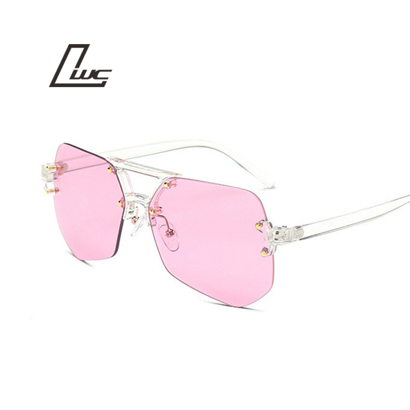 New Transparent Sun Glasses For Women Men Rimless Vintage Design Fashion Sunglasses Female Luxury Brand Oculos Unisex Clear Lens çerçevesiz güneş gözlük modelleri bayan