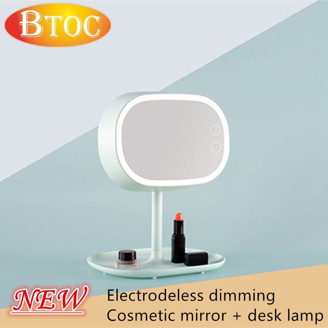 New listing Electrodeless dimming Cosmetic mirror desk lamp With storage function charging Ladies cosmetic mirror lamp table lam