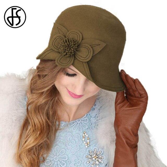 FS Ladies Elegant 100% Australia Wool Felt Fedora Cap Winter Dark Khaki  Wide Brim Flowers Hat Women Wedding Church Cloche Hats 3226a9f4b3e