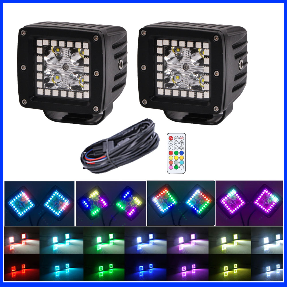 """Wiring 2x 24W LED Work Light 3/"""" Cube Pods Flood with RGB Halo Ring Chasing"""