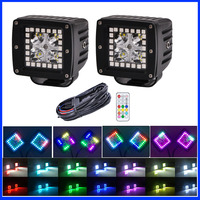 2x 3 inch 16W Led Work Light Bar Pod Cubes with RGB Halo Ring Multi Color Change 72 Chasing & Wiring Harenss kit Wireless Remote
