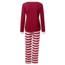 Women Mom Casual Santa Cotton blend Long Sleeve Tops Blouse Pants Family Pajamas Sleepwear Christmas Set