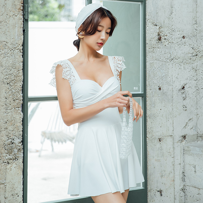 Vintage Korean White Lace One Piece Swimsuit Skirt 2019 Sexy Swimwear Women Swimdress Monokini Bathing Suit in Body Suits from Sports Entertainment