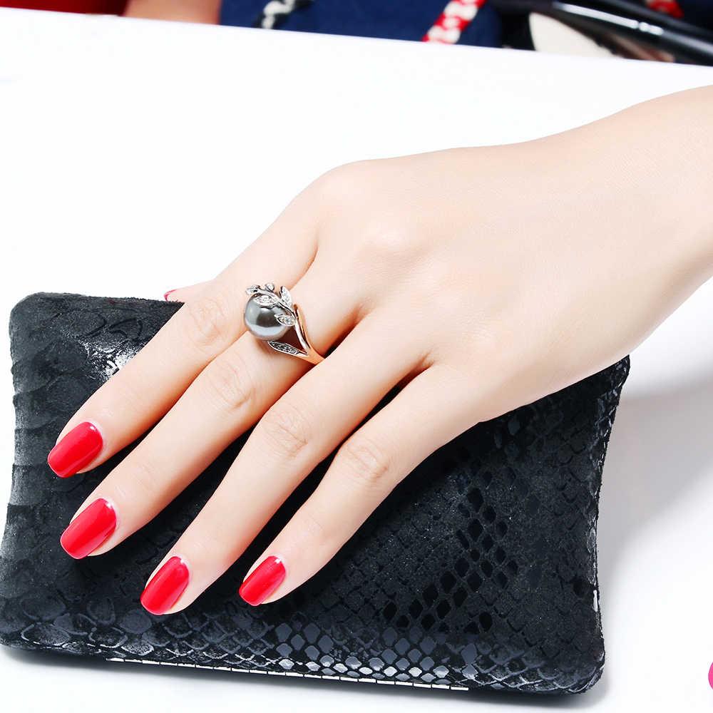 Модное горячее кольцо с серым жемчугом и кубическим цирконом, Женские Ювелирные изделия, дропшиппинг, anel anillos aneis femme, массивные кольца в виде листьев