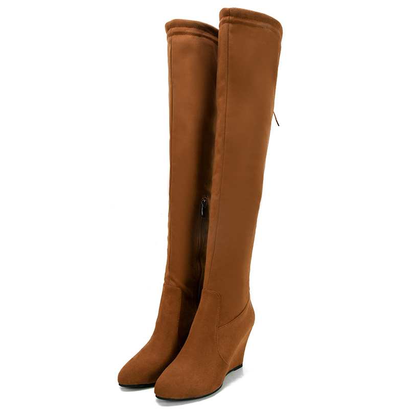 Big Size 34-44 Over the Knee Boots for Women Sexy High Heels Long boots Winter Shoes Round Toe Platform Knight Boots  DL7-38