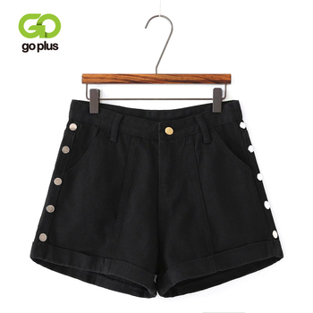 GOPLUS Summer Demin Shorts Womens Vintage Casual Black Buttons High Waist Loose Plus Size Straight Feminino