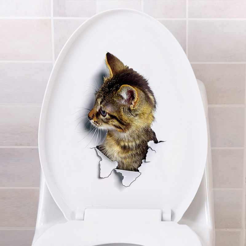 3d Cats Wall Sticker Toilet Stickers Hole View Vivid Dogs Bathroom