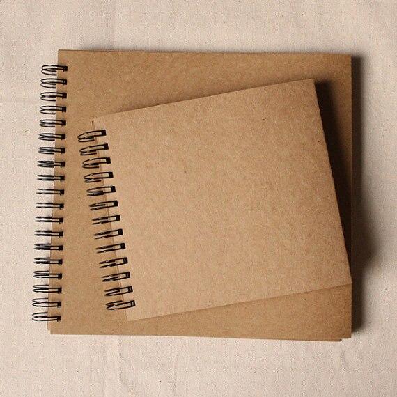 98 pagine Wedding Guestbook/Kraft Scrapbook Album/Rilegato A Spirale/Kraft album di foto/regalo di nozze