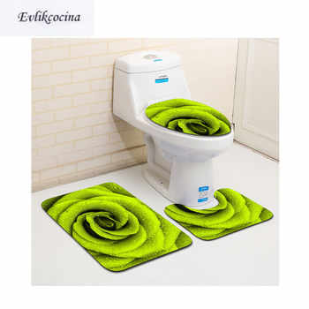 Free Shipping 3pcs Green Flower Banyo Bathroom Carpet Toilet U Type Bath Mats Set Non Slip Pad Tapis Salle De Bain Alfombra Bano - DISCOUNT ITEM  47% OFF All Category
