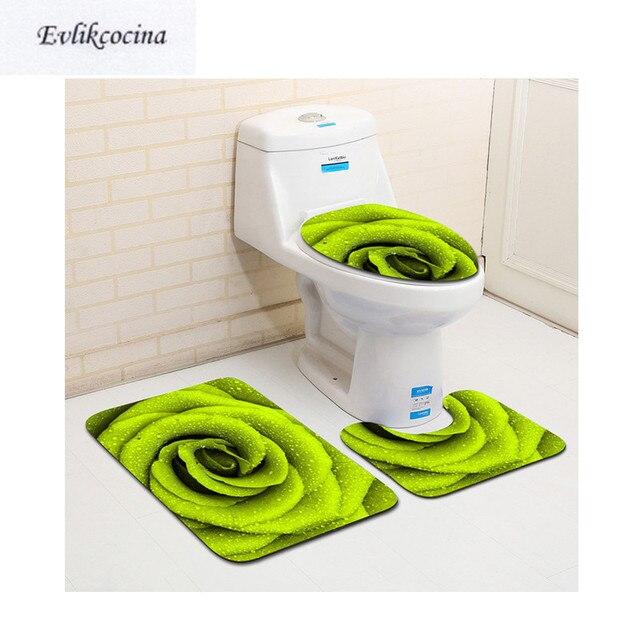 Il trasporto Libero 3 pz Fiore Verde Banyo Bagno Tappeto Wc U Tipo Tappetini da