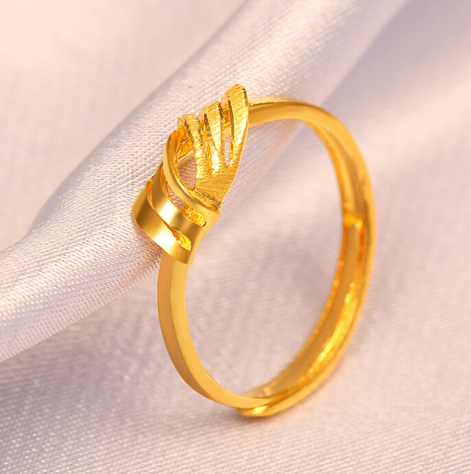 Fine Jewelry Pure 24k Yellow Gold Ring Unique Knot Design Adjustable Ring - 4