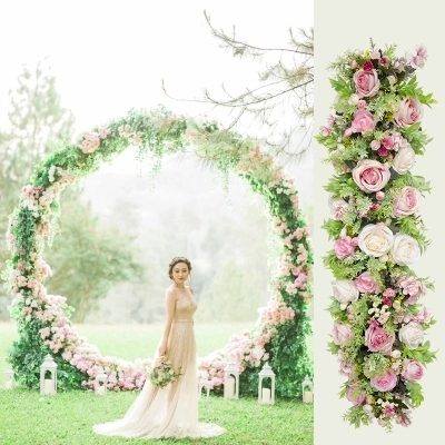 3 Meters Long Pink Roses With Gr Green Wedding Flower Wall Artifical Silk Backdrop Decoration