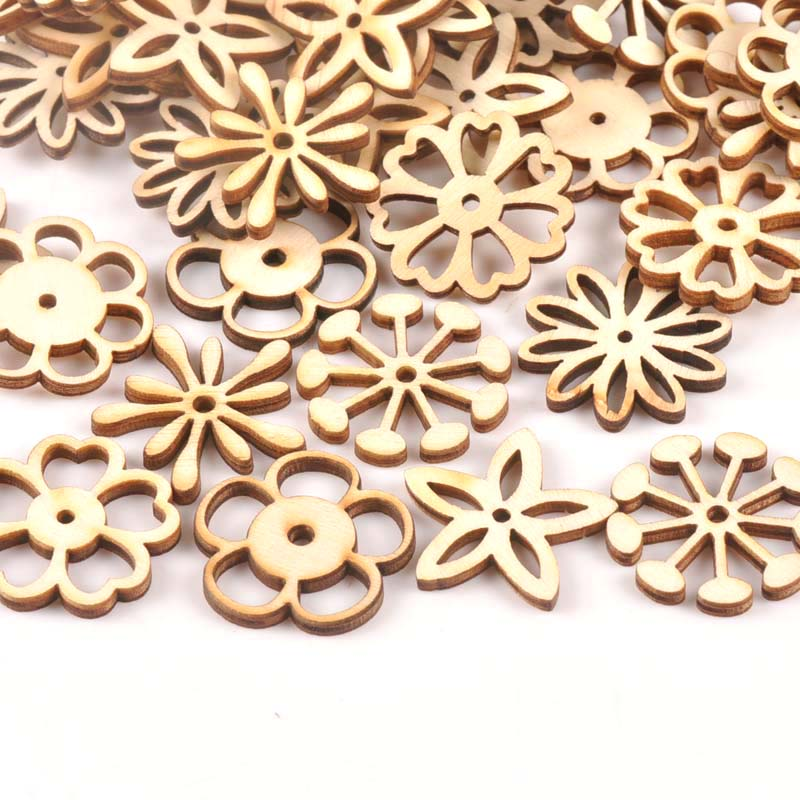 25Pcs Mix Flower Pattern Unfinished Wood Slices DIY Crafts Home Decoration Scrapbooking Wooden Ornament Accessories 30mm M1781