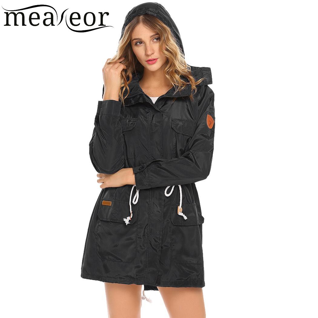 meaneor Lightweight Casual Detachable Hooded Long Sleeve Women Jacket