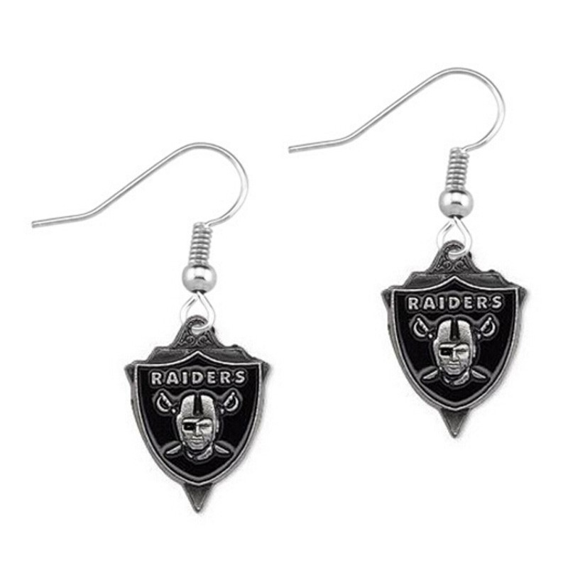 Oakland Raiders black triangle drip earrings female team