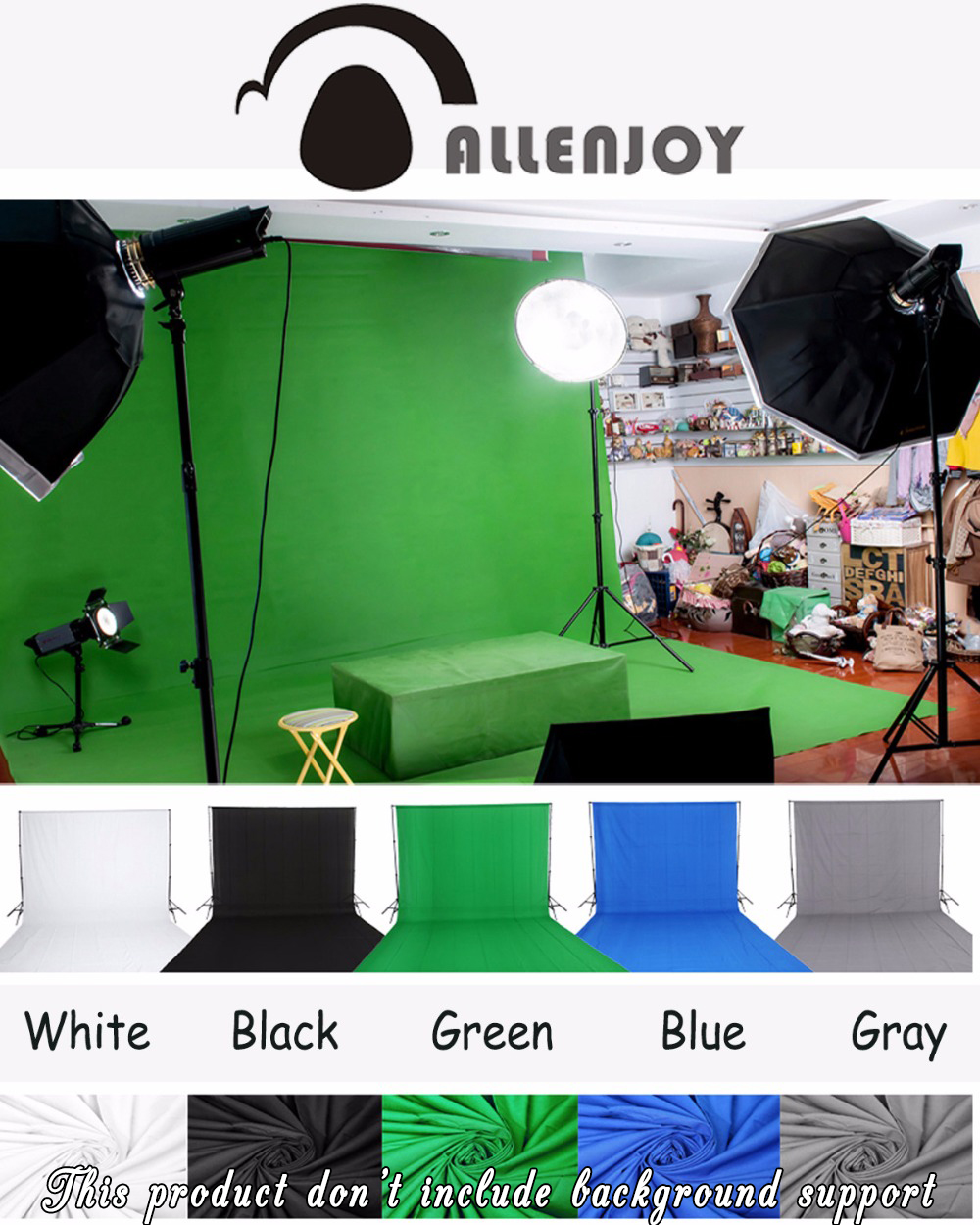 Allenjoy Green screen background chroma key more color Options Customized Size Professional Photo Lighting Studio