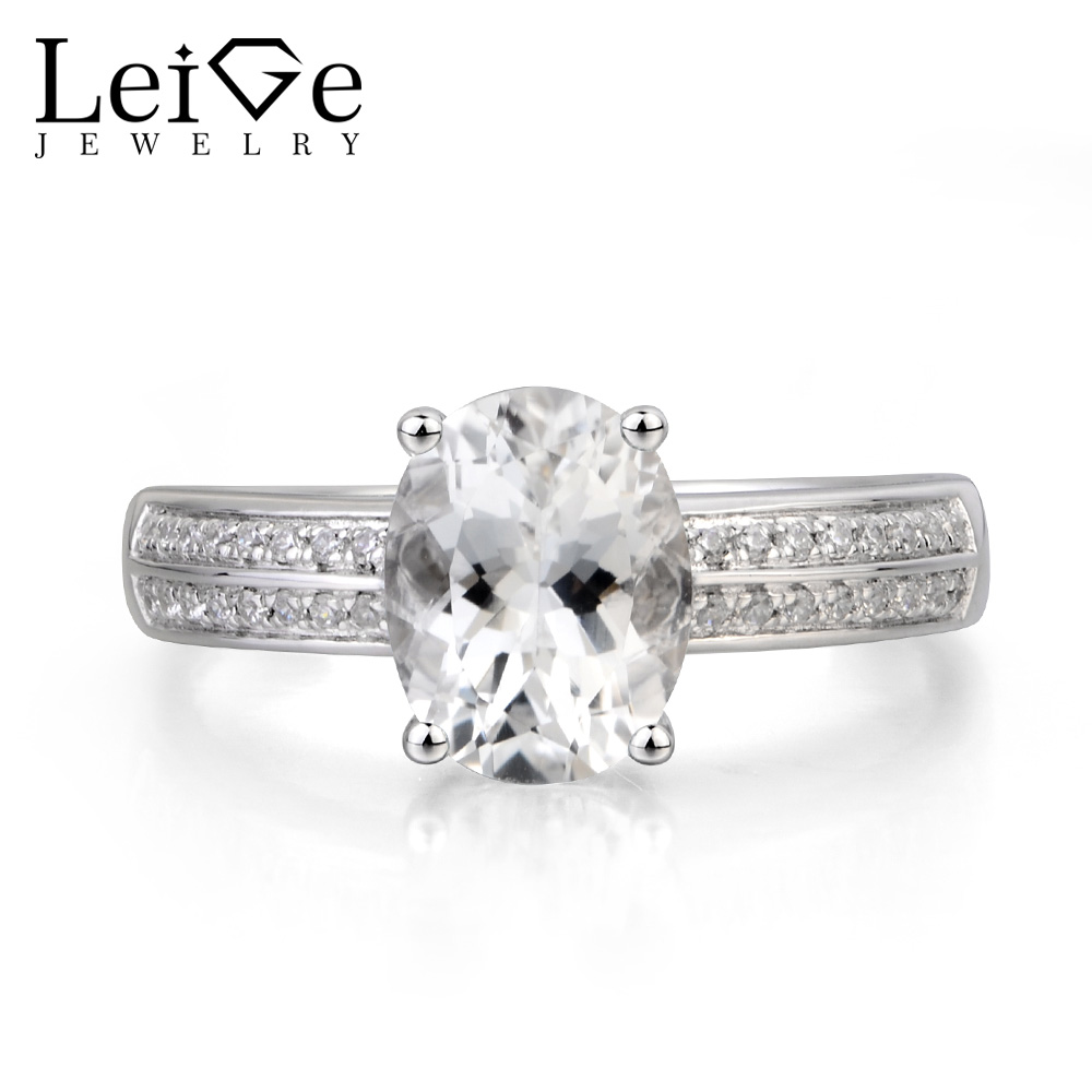 Leige Jewelry Cocktail Party Ring Natural White Topaz Ring November Birthstone Oval Cut Gemstone Solid 925 Sterling Silver Ring leige jewelry real natural white topaz ring wedding ring pear cut gemstone november birthstone solid 925 sterling silver ring
