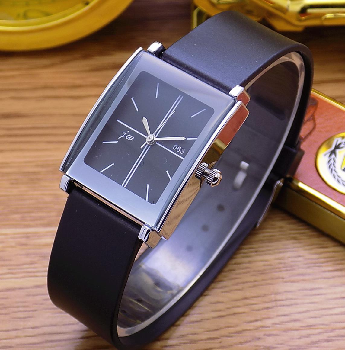 Модные Jw Брендовые повседневные Кварцевые женские и мужские часы для влюбленных с кожаным ремешком студенческие часы деловые квадратные наручные часы Relogio Masculino - Цвет: Black For Man