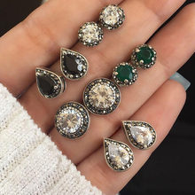 5 Pairs/Set Water Drop Green White Crystal Stud Earrings for Women Boho Boucle D'oreille Jewelry Dazzling Cubic Zirconia Brincos(China)