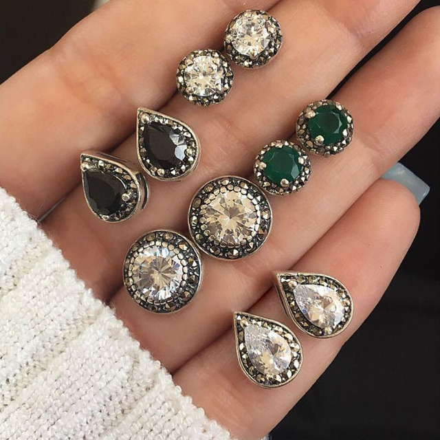 5 Pairs/Set Water Drop Green White Crystal Stud Earrings for Women Boho Boucle D'oreille Jewelry Dazzling Cubic Zirconia Brincos