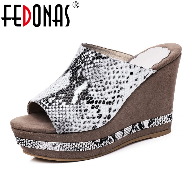 FEDONAS New Fashion Sexy Women Sandals Genuine Leather Platforms High Heels Classic Rome Animal Prints Shoes Woman Casual Shoes