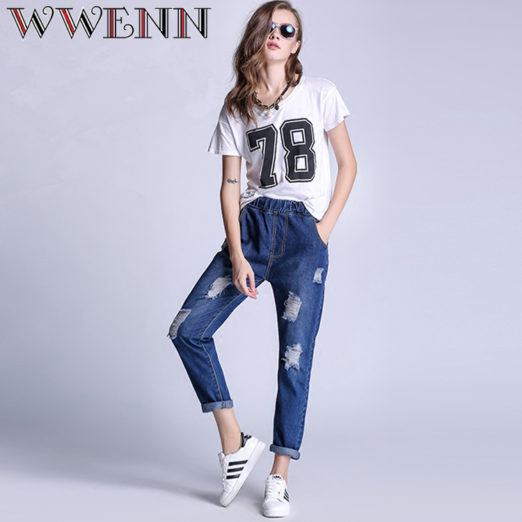 2017 High Waist Women Boyfriend Ripped Denim Jeans Slim Fit Skinny Denim Jeans Hole Harem Pants Waist stretch Size UK 6 8 12 14