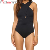 BalleenShiny 2017 Black Sexy Cross Halter Women Swimwear One Piece Swimsuit Red Solid Women Bathing Suits