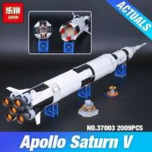 Lepin 37003 1969 Unids Creativo Serie Apolo Saturno V Vehículo de Lanzamiento Conjunto Niños Educativos Bloques de Construcción de Ladrillos de Juguete 21309