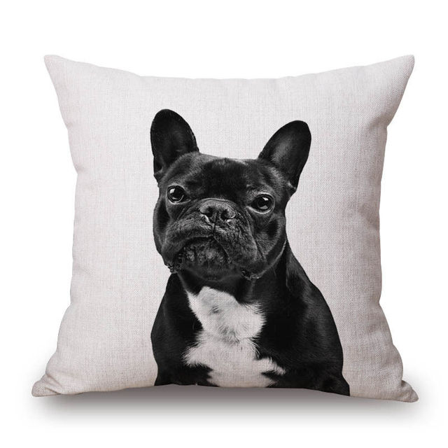 Cotton Funny French Bulldogs Printed Square Pillow Case