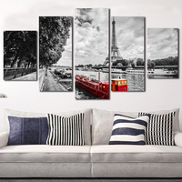Canvas Paintings 5 Piece Canvas Art Paris Seine Scenery Photography Printed On Fabric Morden Home Decor