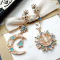 famous brand South Korea retro exaggerated fashion Sun Moon Stars asymmetric gold long earrings woman Jewelry gift girlfriend