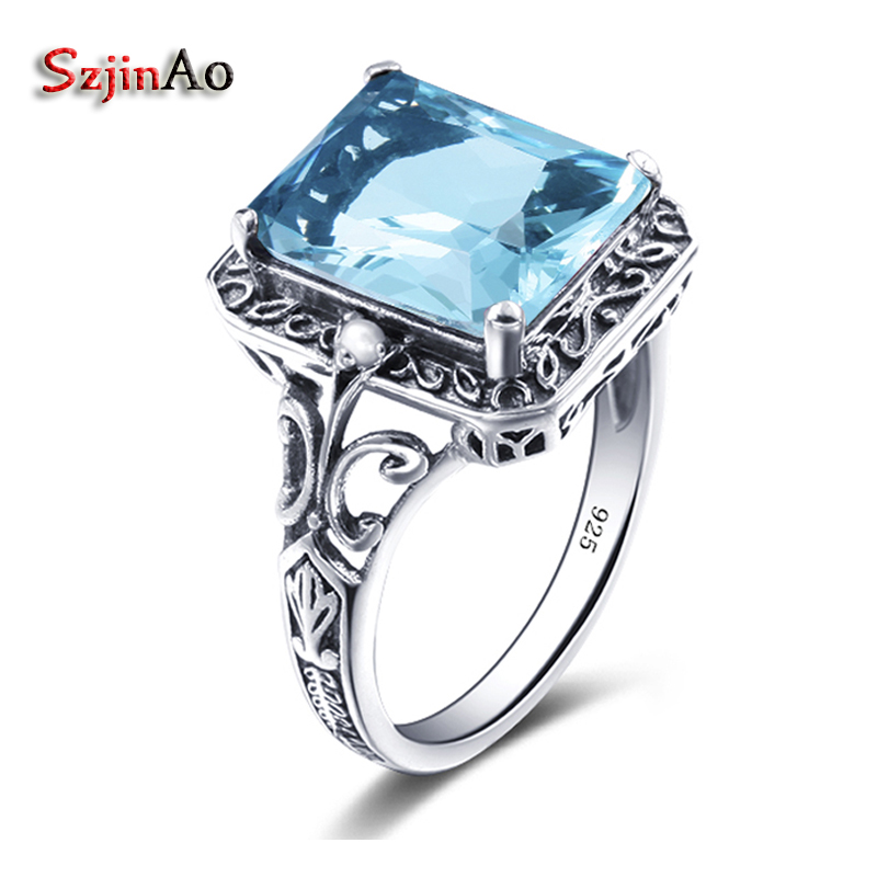 Szjinao Europe Jewelry Fashion Punk 925 Sterling Silver Sea Blue Aquamarine Ring Pattern Style Restoring Ancient Couples Ring