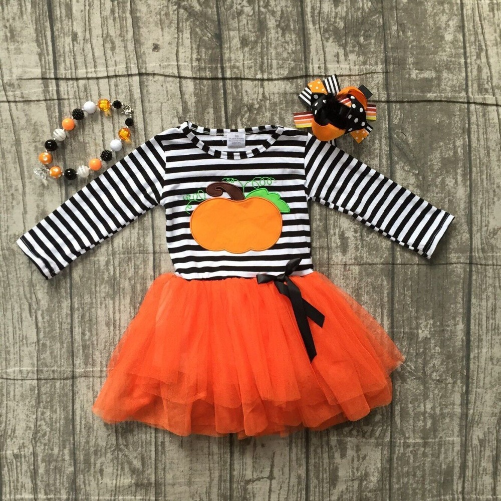 2018 Halloween dress black stripes pumpkin embroidered orange veil dress kids wear girls boutique clothing with accessories