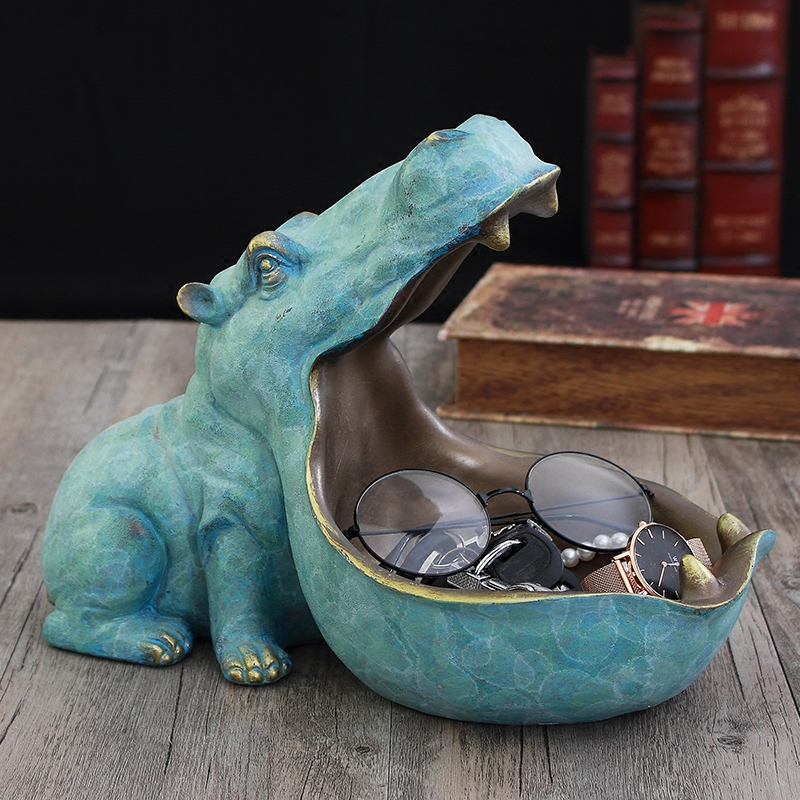 Creative Hippopotamus Statue Abstract Resin Sculpture Desktop Crafts Home Decoration Accessories Animal Figurine 41
