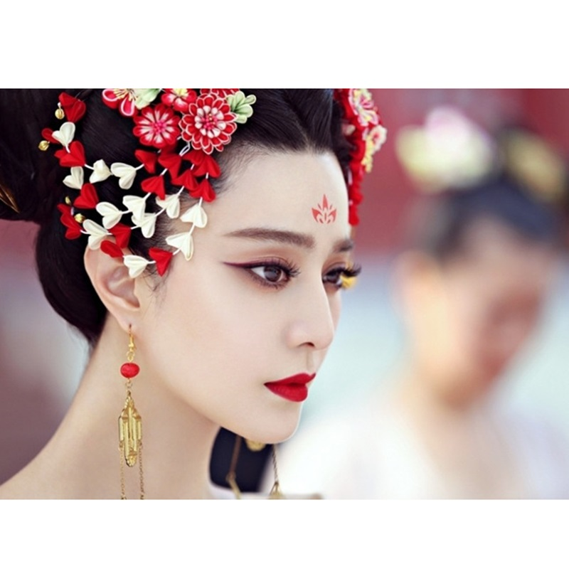 10pcs Cool Small Red Flower Pattern Temporary Tattoo Stickers
