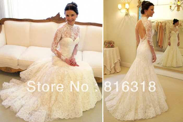 Vestido De Noiva 2016 Sexy Long Sleeve Wedding Dress High
