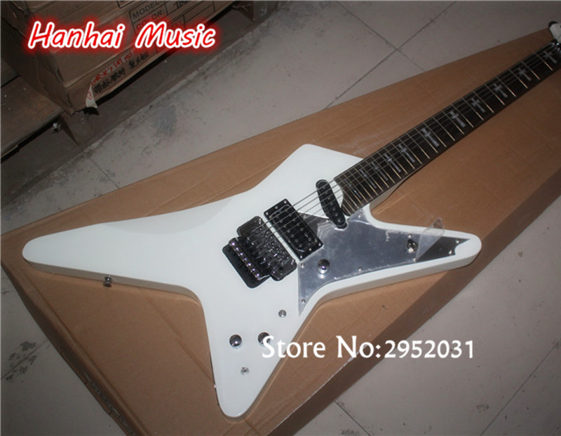free shipping electric guitar with 27 frets white body floyd rose open pickups cross fret marks. Black Bedroom Furniture Sets. Home Design Ideas
